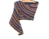 Knit Wrap - Southwestern Clothing - Boho Shawl - Knitted Shoulder Warmer - Color Adobe