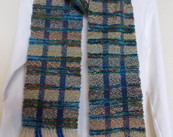 "Handwoven, Soft and Delicate, One-of-a-Kind Scarf 65""X6"" Multi-Color in Blues, Tans. Rusts and Greens"