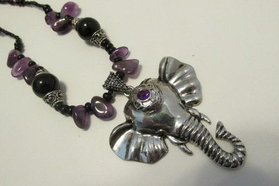 Black and purple elephant necklace