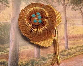 Birds nest pin turquoise eggs