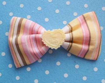 SALE Classy Tea Party Striped Hair Bow Clip