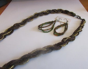 woven brown beaded necklace plus ears