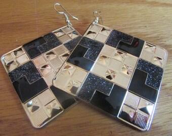 large black and silver block dangle earrings