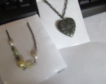 heart locket and beads