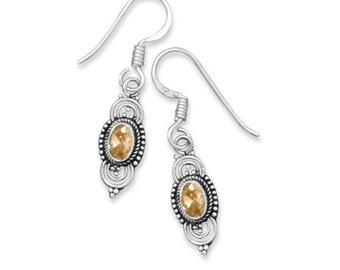 Bali Style Citrine Drop Earrings