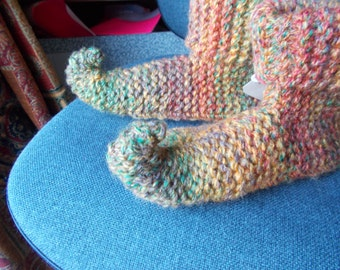 Hand Knitted chunky childs pixie  slipper boots in Autumn/fall colours