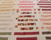 """New. Handmade Quilt. Heavy Hand Quilting. All Cottons. 73""""x 90"""". Bright and Graphic."""