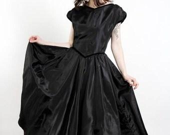 ON SALE Black Taffeta Dress LBD
