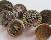 Vintage Buttons - Collector molded metal, pressed and molded, Victorian lot of 7 assorted designs, very old (jan 188b)