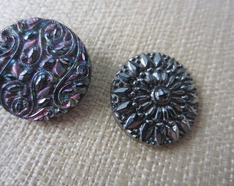 Vintage Buttons -  beautiful lot of 2 assorted silver luster hand painting jet black glass, pressed design,  (sept 41b)