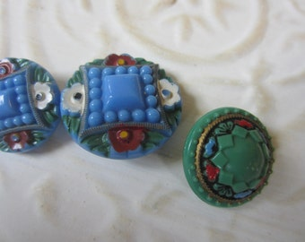 Vintage Button-  3 1940's beautiful and hand painted with flowers, very old, glass buttons (oct 32b)