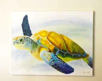 Sea Turtle Original Painting, gouache watercolor, large art on canvas, 22 x 28