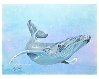 Humpback Whale Gouache / Watercolor Art Print, wildlife art, sea life art, whale wall art, whale art, whale nursery decor, whale painting