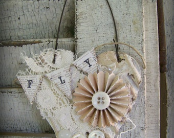 Shabby White Decor  Heart Ornament Vintage Lace Collage Vintage Mixed Media Cottage Style Heart Wall Hanging Antique Paper Heart Ornament