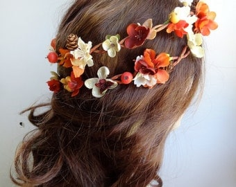 autumn flower crown, fall flower crown, floral crown, fall wedding headpiece, fall headband, bridal headpiece, rustic wedding, burnt orange