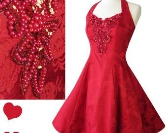Vintage 80s 90s Red Floral Brocade Full Skirt Halter Dress XS S Short Knee to Above Knee Mini Length Beaded Sequin Beads Prom Formal Dress