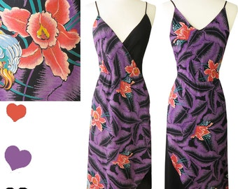 Vintage 70s 80s Black Purple Tropical Floral Disco Dress M Hawaiian Flowers Spaghetti Straps Sleeveless Ruffle Dress