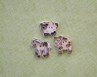 Farm Animal Buttons set of 3