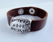Personalized Knife End Leather Strap Bracelet - Knife Bracelet - Silverware Bracelet Hand Stamped