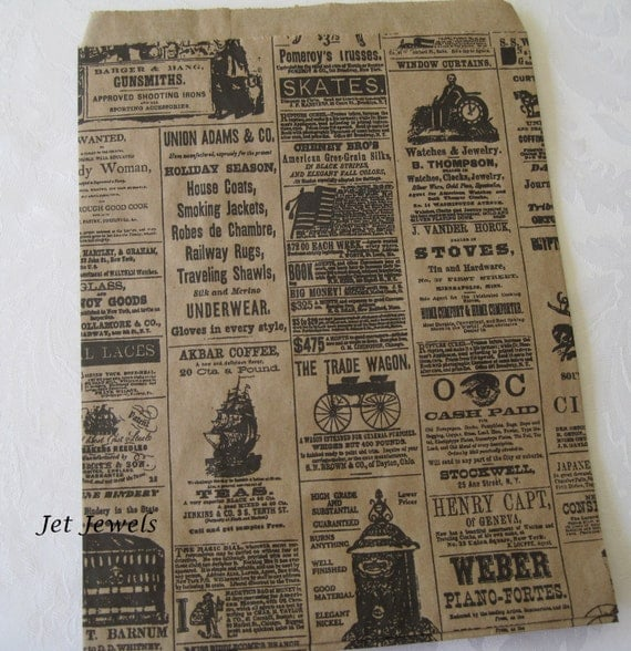 50 Newspaper Bags, Newsprint Bags, News Print, Vintage Style Bags, Rustic Wedding, Gift Bags, Party Favor Bags, Victorian Bags 8.5x11