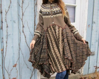 S-M Norwegian Fair Isle Yoke Sweater Dress// Upcycled// Reconstructed// emmevielle