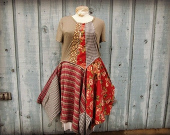 Med. Reconstructed Bohemian Floral Plaid Day Dress// Upcycled// Multi Colored// emmevielle