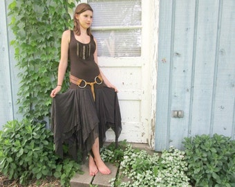 Med. Silk Beaded Tribal Festival Dress// Upcycled Brown Goddess Dress// emmevielle