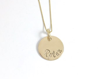 Gold Name Necklace - 14K Yellow - Name Necklace - Mom Jewelry