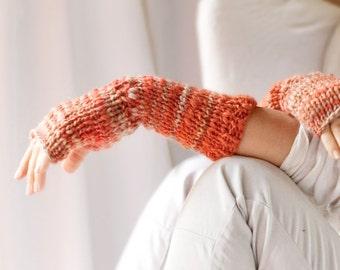 ON SALE fingerless mittens FIRE hand knit wristwarmers multicolor rust brick orange peach ombre wool