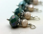 Seafoam Blue Green and Ivory Rondelle Crystal Bead Dangle Charm Drop Set