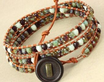 Amber Wrap Bracelet Leather Jewelry Light Green Bracelet Bohemian Jewelry Amber Gypsy Jewelry Earthy Boho Chic Bracelet Garnet Skinny Wrap