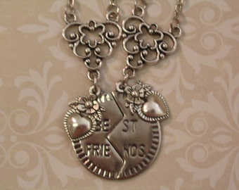 Two Best Friends Heart Necklace Set Jewelry for Friends or Sisters