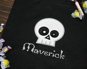 Personalized Skull Halloween Trick or Treat Bag