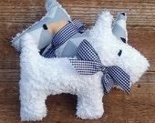 Plush Upcycled Vintage Chenille Scottie Dog Bonnie