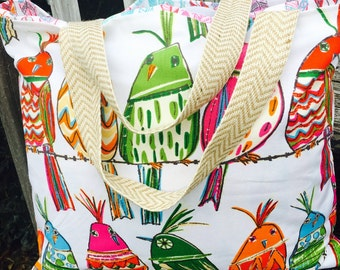 Tote bag, monogrammed tote, beach bag, monogrammed beach bag, reversible bag, reversible tote, diaper bag, monogrammed diaper bag, birds