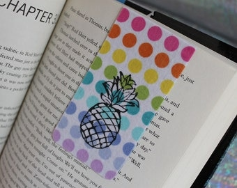 Pineapple Rainbow Polka Dot Magnetic Bookmark, Colorful Fabric Bookmark