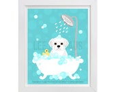 166D Dog Prints - Maltese Dog in Bubble Bath Wall Art - Bathroom Art - Maltese Print - Bath Decor - Maltese Dog Art - Maltese Drawing