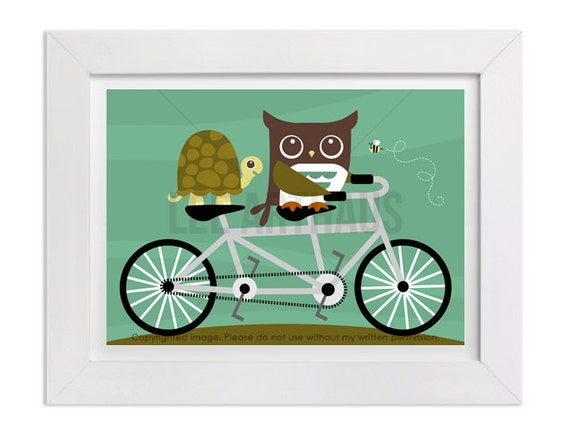180 Bicycle Print - Owl and Turtle on Bicycle Wall Art - Owl Print - Owl Nursery Decor - Turtle Print - Turtle Art - Modern Bicycle Poster