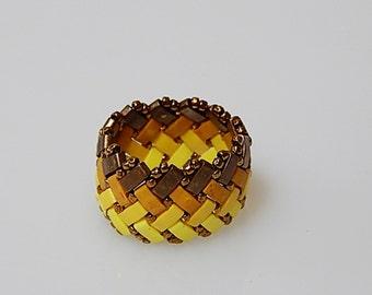 Basket Weave (Yellow Shades) Ring