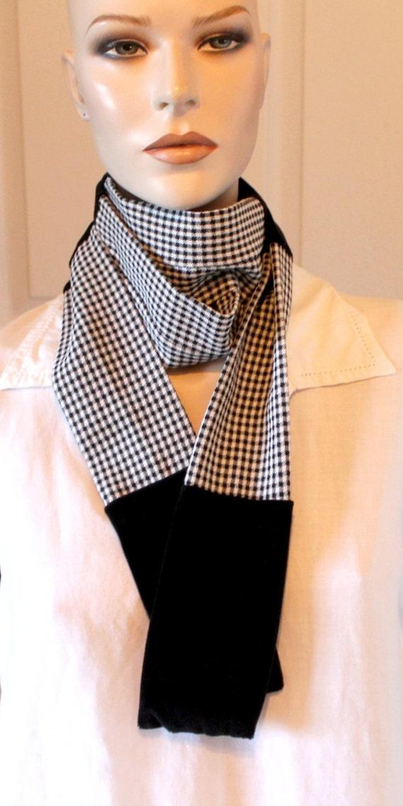 Upcycled Black/white plaid patchwork Scarf,black plais patchwork scarf,velvet fabric,unisex,eco friendly,fall,winter,