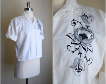 Vintage embroidered button up shirt / 1970's blouse / embroidered cotton blouse