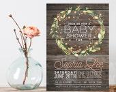 Vintage Wood Baby Shower Invitation, Floral wreath Baby Shower Invite, Baby Girl Shower Invitation, Printable shower invitation