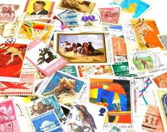 Asst postage stamps,1900-present, 60 with different countries, great for jewelry, altered art & mixed media.