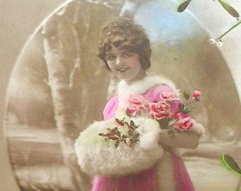 Antique French Postcard, Lady with fur muff, RPPC paper ephemera.