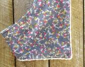 Grey Flowers Bandana Bib - Baby - Baby Bandana Bib - Bib - Drooling - Baby Girl Bib - Stocking Stuffer