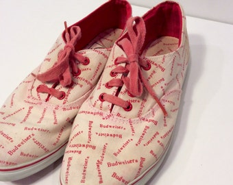 RARE Vintage Budweiser Tie Sneakers // Official Product // Canvas Sneakers // Beer // Brewery // Anheuser Busch // Size 7 // Womens