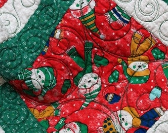 Christmas Quilt Holiday Snowman Red Green and White Free USA Shipping