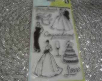 Wedding set of Inkadinkado Clear Unmounted Stamps - 9 pieces