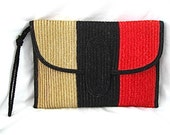 Vintage Black, Red and Tan Straw Clutch Bag