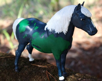 Gaea - customized traditional scale Breyer Shetland pony mare Earth Goddess inspired fantasy CM altered art horse planet world globe